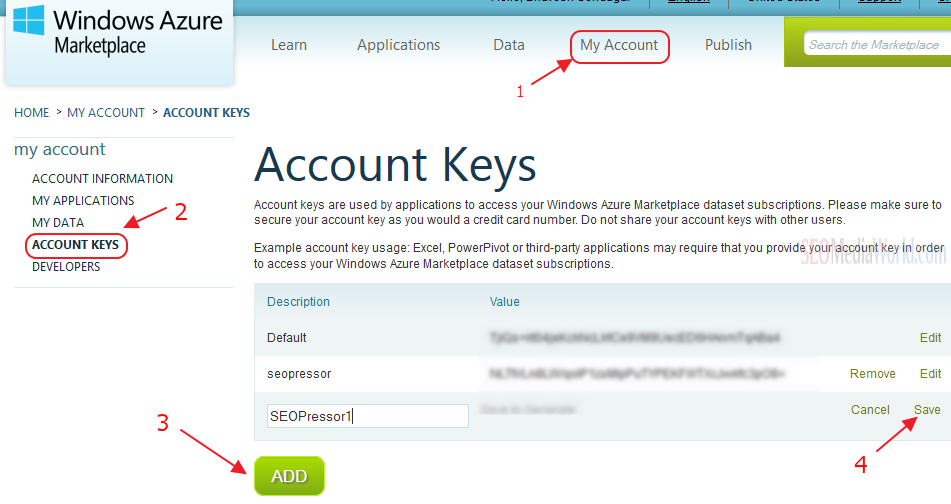 How to Find Bing API Key for SEOPRessor LSI SEO Feature
